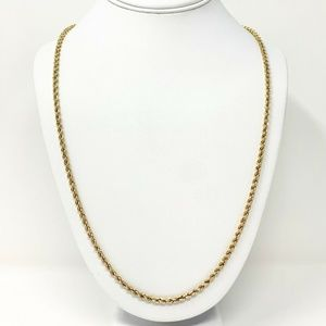 """14k Gold Hollow 3.2mm Rope Chain Necklace 27.5"""""""